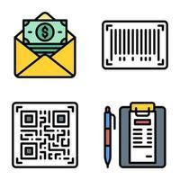 código de barras e ícone de código qr vetor relacionado ao pagamento