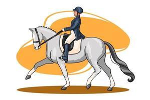 mulher andando a cavalo cavalgando cavalo de adestramento em estilo cartoon vetor