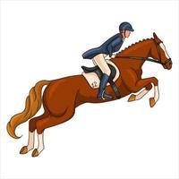 mulher andando a cavalo andando a cavalo, salto estilo cartoon vetor