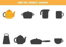 encontre a sombra certa do bule de chá vetor