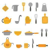 conjunto de ilustrações vetoriais de utensílios de cozinha vetor