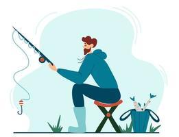 jovem pescador pescando vetor