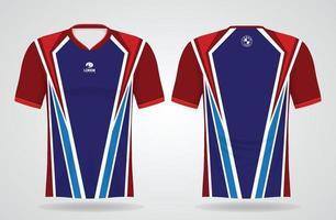 modelo de camisa esporte vermelho azul para uniformes de time e design de camisetas de futebol vetor