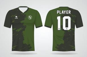 modelo de camisa esportiva verde para uniformes de time e design de camisetas de futebol vetor