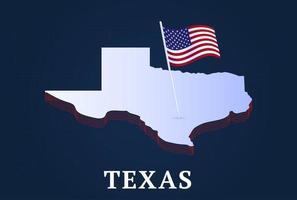 mapa isométrico do estado de texas e bandeira nacional dos EUA forma isométrica em 3D de ilustração em vetor estado dos EUA