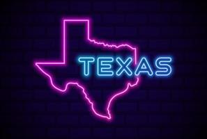 lâmpada de néon brilhante do estado do texas eua sinal ilustração vetorial realista brilho da parede de tijolo azul vetor