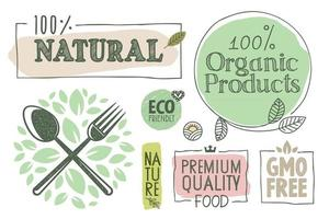 coleção de adesivos e rótulos de alimentos orgânicos vetor