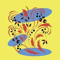 arte floral popular impressão flores arte abstrata pôster vetor