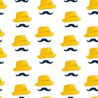 padrão sem emenda de chapéu de palha vetor