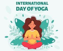 mulher meditando na pose de lótus - dia internacional da ioga vetor