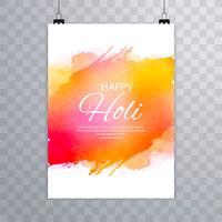 Feliz holi festival holi brochura projeto vector