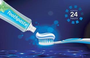 escova de pasta de dente, fio dental e dente na superfície da água brilhante no cartaz noturno da marca com vetor eps 10 de produto para cuidados dentários