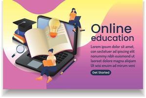 menina lendo livro e menina com laptop e texto on-line eaducation on-line wedsite design vetor