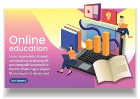 pouco aprendizado humano online eaducation online wedsite design vetor