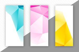 Banners de polígono abstrata definir modelo de design vetor