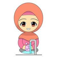 garota muçulmana de desenho animado lavando as mãos com sabonete vetor