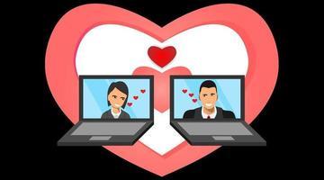 masculino e feminino aparecem na tela do laptop com o símbolo do amor vetor