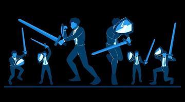 empreendedores de vetores de personagens planos, como soldados usando espadas e escudos