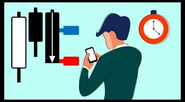 trader está usando um aplicativo de negociação de ações forex vetor