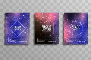 Conjunto de brochura de negócios colorido abstrato galáxia stylie