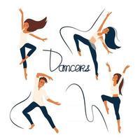 dançarina alegre pessoas dançando meninas e menino envolvido na dança moderna conjunto de vetores de personagens de desenhos animados, pessoas planas isolam