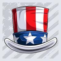 4 de julho, tio sam, chapéu, dia da independência, chapéu, isolado no fundo branco vetor