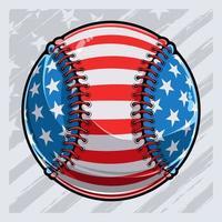 bola de beisebol com padrão de bandeira americana dia da independência veteranos dia 4 de julho vetor