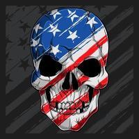 cabeça de crânio humano com padrão de bandeira americana dia da independência dia dos veteranos 4 de julho e dia do memorial vetor