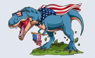 dinossauro t rex blue angry com bandeira americana e óculos de sol dos EUA dia da independência, 4 de julho e dia memorial vetor