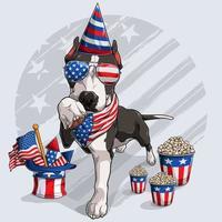 cão pitbull preto fofo com elementos do dia da independência americana 4 de julho e dia do memorial vetor