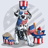 cachorro dálmata fofo sentado com elementos do dia da independência americana, 4 de julho e dia do memorial vetor