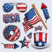 4 de julho coleção de elementos dia da independência dia dos veteranos e dia do memorial vetor