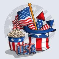 Chapéu do tio sam com pipoca de fogos de artifício da bandeira americana e letras dos EUA em 3D vetor