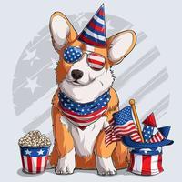 cachorro fofo welsh corgi pembroke sentado com elementos do dia da independência americana 4 de julho e dia memorial vetor