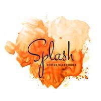 Bela mão pintar aquarela respingo laranja em background branco vetor