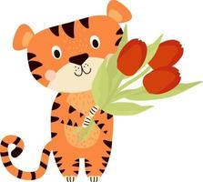animal bonito tigre listrado com um buquê de tulipas vetor