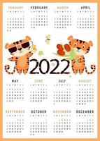 2022 calendário infantil 2022 com animais fofos modelo vertical de calendário de 12 meses vetor