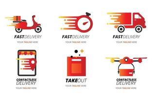 conjunto de logotipo de entrega de comida vetor