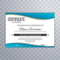 Certificado modelo Premium prêmios diploma azul onda design vetor