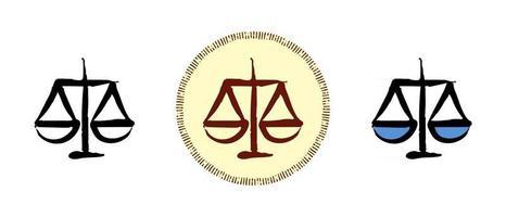 escalas de justiça delinear cores e símbolos retrô vetor