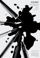 delineador cosmético com ilustração vetorial de design de cartaz de embalagem vetor