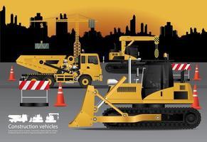 veículos de construção com ilustração vetorial de fundo de construção vetor
