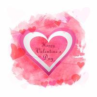 Ilustração de dia dos namorados de design de cartão de coração de amor vetor