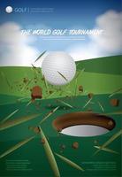 ilustração em vetor cartaz golfe campeonato