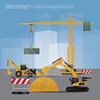ilustração vetorial de veículos de construção no local vetor