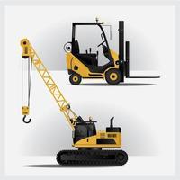 conjunto de ilustração vetorial de veículos de construção vetor