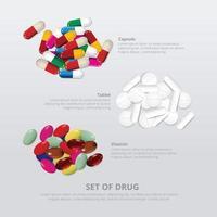 conjunto de ilustração vetorial realista de grupo de drogas 3 vetor