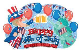 tio sam e lady liberty celebrando conceito de 4 de julho vetor