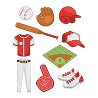 conjunto de ícones de equipamentos de softball vetor