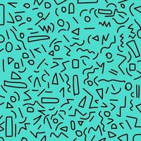 desenho à mão preto padrão geométrico de memphis estilos dos anos 80-90 sobre fundo azul. vetor